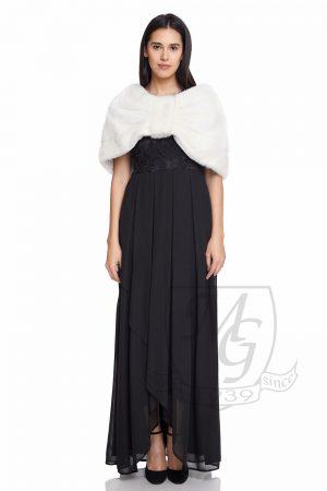 Capa blana de vizon (nurca) alb, model Roxana