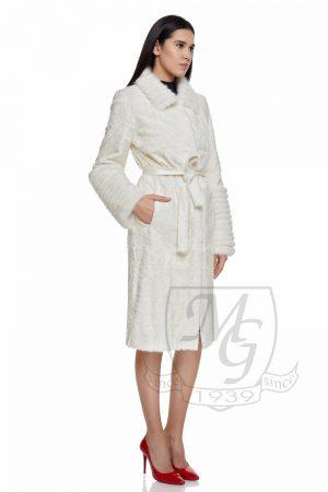 Haina de blana de silklamb alb cu vizon (nurca) alb, model 5741