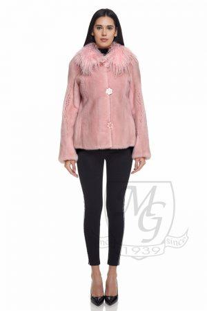 Jacheta din vizon roz