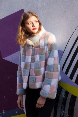 Jacheta din vizon multicolor Design unic si realizare Casa de blanuri MG