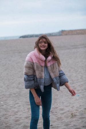 Jacheta din vizon multicolor