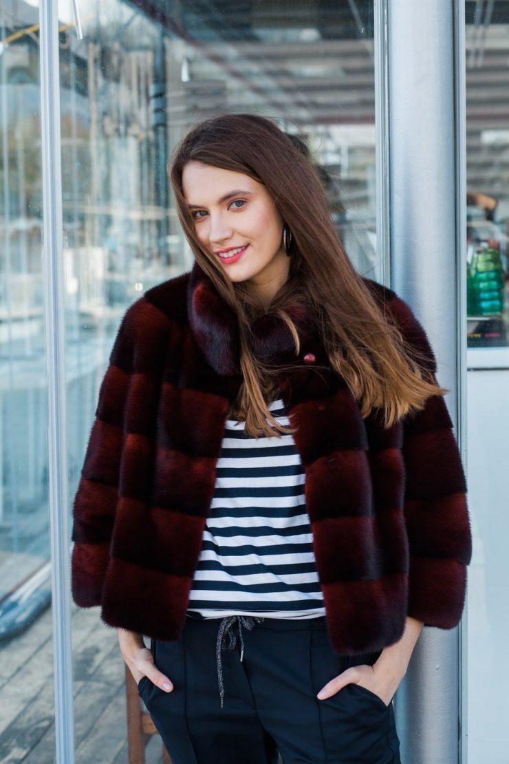 Jacheta din vizon scandinav scarlet