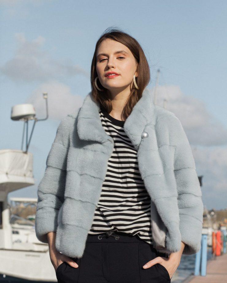 Jacheta din vizon scandinav vopsit bleo