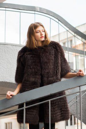 Jacheta din vulpe bluefrost-tabac