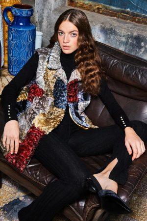 Vesta din blana de astrahan Karakul multicolor