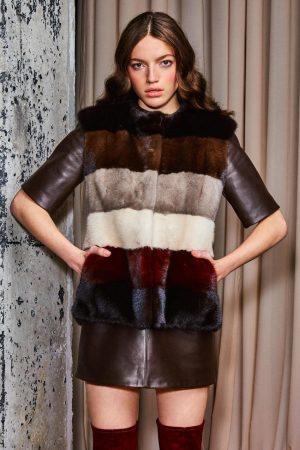 Vesta din blana de vizon (nurca) multicolor