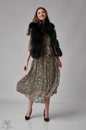 Vesta din blana de vulpe negru model 5727